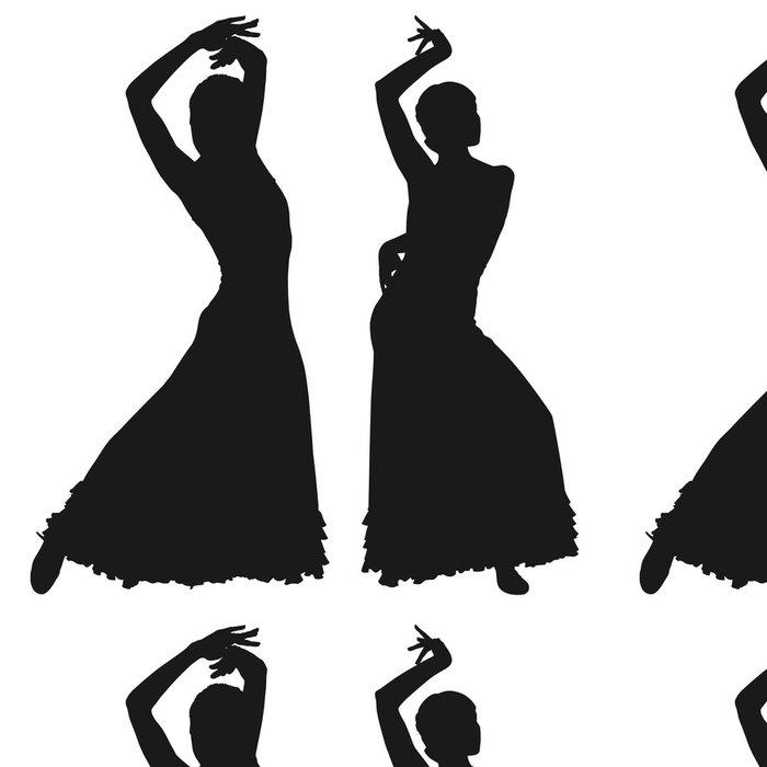 Vinylová Tapeta Dva černé siluety ženské flamenco tanečnice - Žena