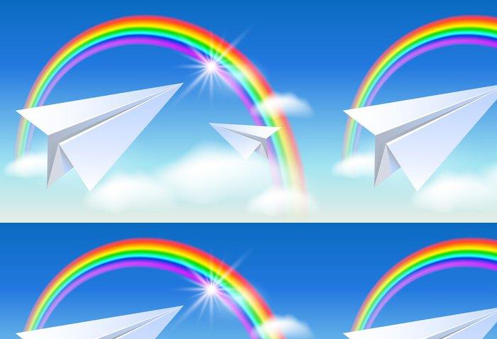 Tapeta Pixerstick Dva papír a duha - Nebe