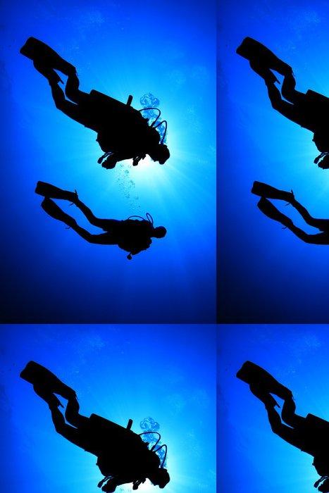 Tapeta Pixerstick Dva potápěči silueta - Vodní sporty