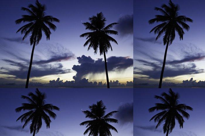 Tapeta Pixerstick Dvě černé dlaň na noční pláži - Voda