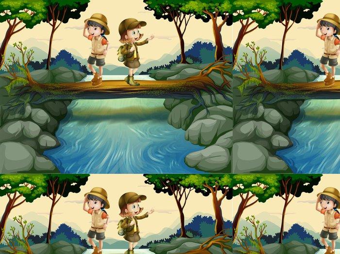 Tapeta Pixerstick Dvě děti přes řeku -