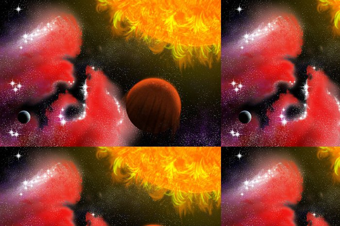 Tapeta Pixerstick Dvě planety - Meziplanetární prostor