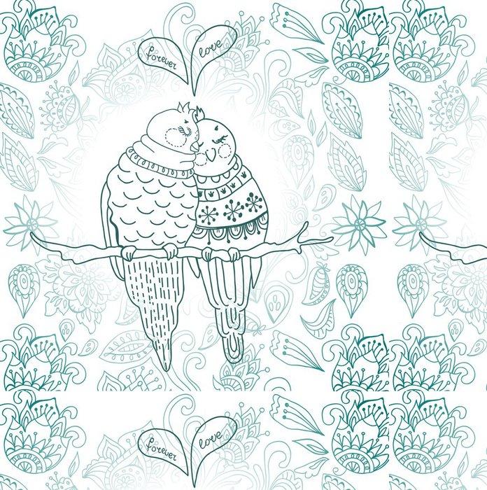 Vinylová Tapeta Dvě roztomilé ptáky v lásce - Témata