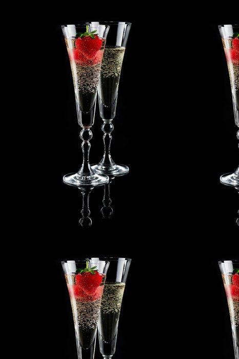 Tapeta Pixerstick Dvě sklenky sektu (šampaňské) a jahoda - Témata