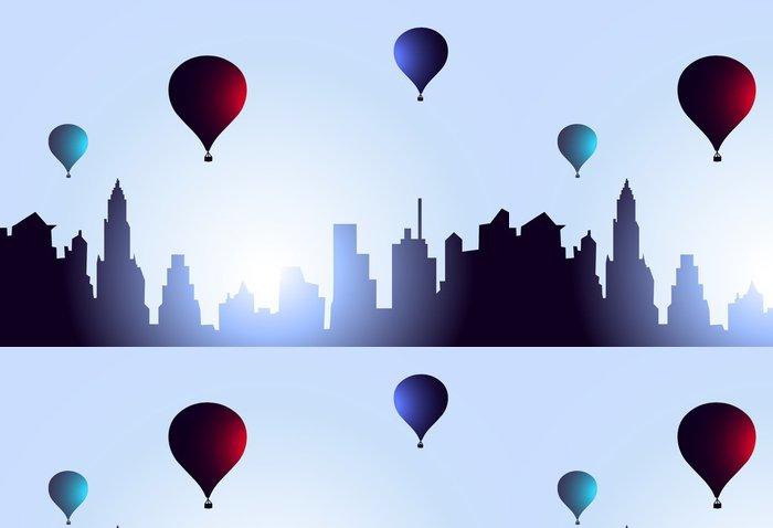 Tapeta Pixerstick Early Morning Město Návštěva Air Balloons-Vector - Město