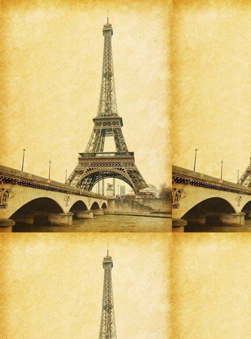 Tapeta Pixerstick Eiffelova věž. Fotografie v retro stylu. Papír textury. - Témata