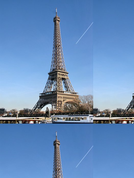 Tapeta Pixerstick Eiffelova věž, modrá obloha a čluny. - Evropská města