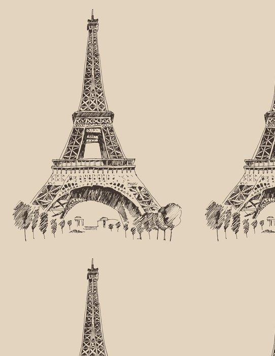 Vinylová Tapeta Eiffelova věž v Paříži architektuře, ryté ilustrace - Témata
