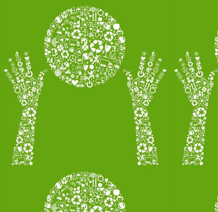 Tapeta Pixerstick Ekologie ruce držet zelené koule vyrobená z eco ikony vektoru - Prvky podnikání