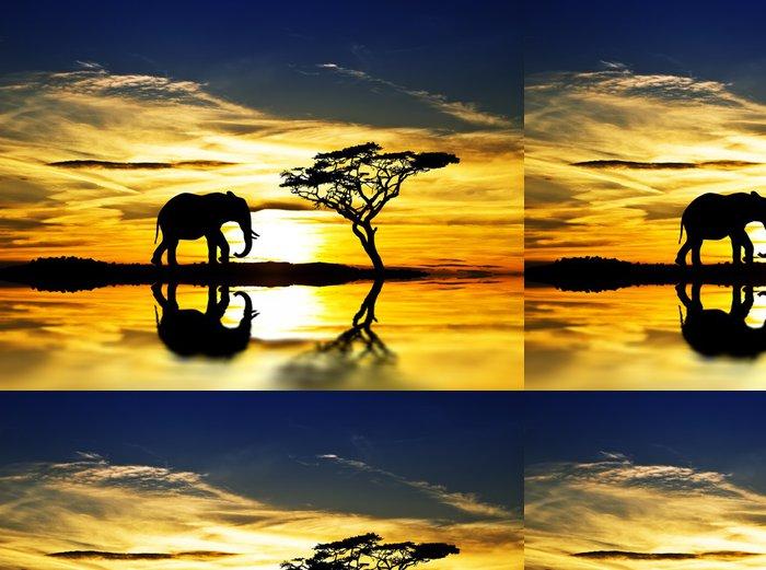 Tapeta Pixerstick El elefante y la puesta de sol en el Lago - Voda