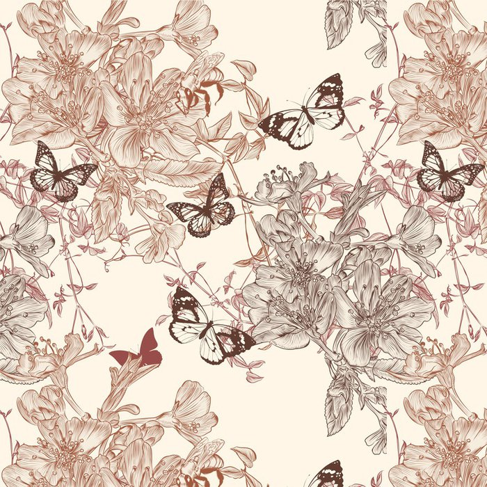 Tapeta Pixerstick Elegantní bezešvé tapety vzor s květinami - Ostatní Ostatní