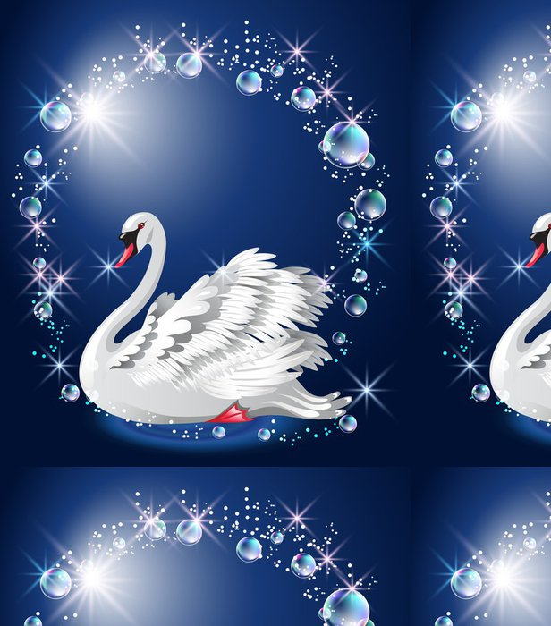 Tapeta Pixerstick Elegantní bílá labuť a bubliny - Ptáci