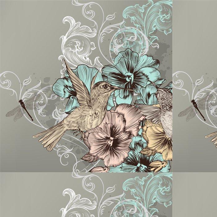 Tapeta Pixerstick Elegantní květinové pozadí s květinami a kolibříky - Ptáci