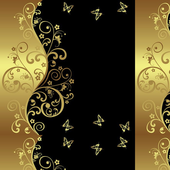 Vinylová Tapeta Elegantní pozadí s černými a zlatými květy - Prodej