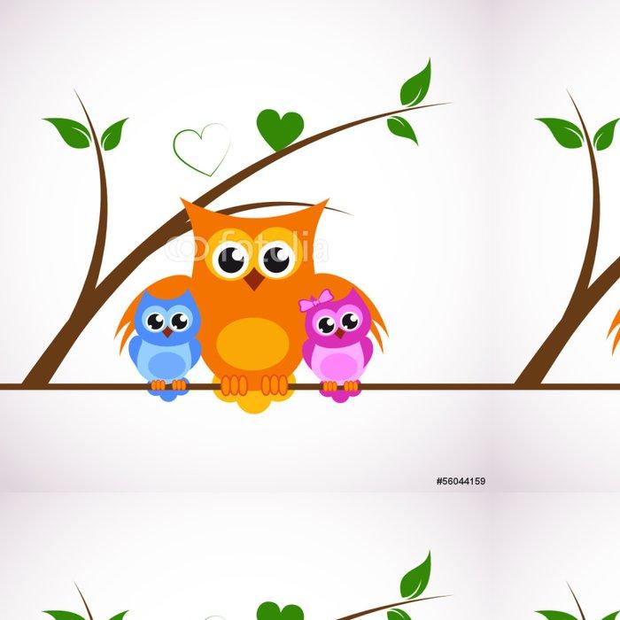 Tapeta Pixerstick Eulenfamilie - Ptáci