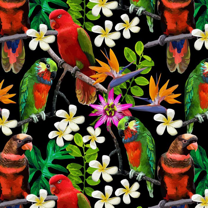 Tapeta Pixerstick Exotického ptactva a krásné květiny - Témata