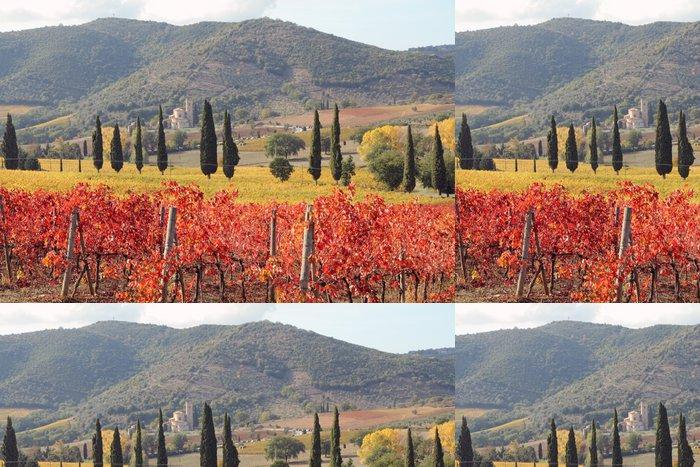 Tapeta Pixerstick Fantastické krajiny toskánské vinic na podzim - Témata