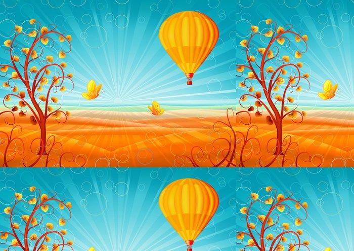 Tapeta Pixerstick Fantastický podzimní scenérii se stromem a horkovzdušný balón - Příroda a divočina