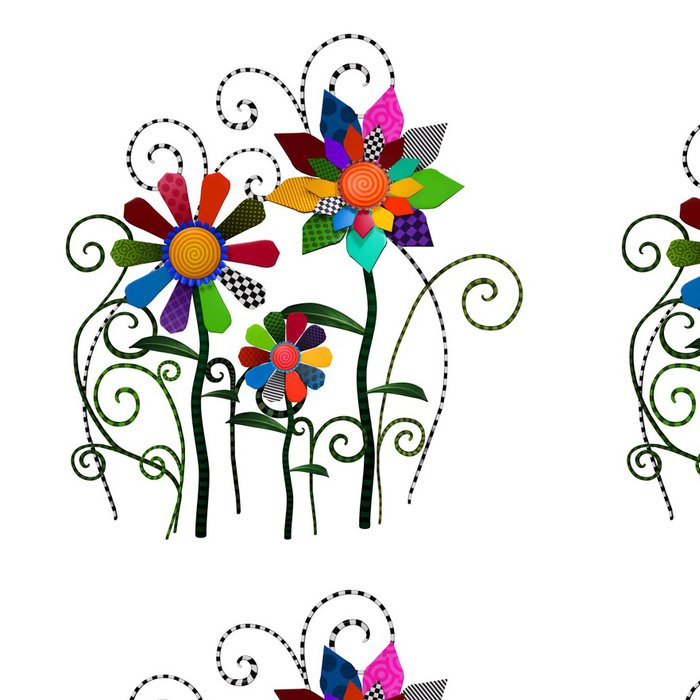 Tapeta Pixerstick Fantasy patchwork květiny ilustrační - Umění a tvorba