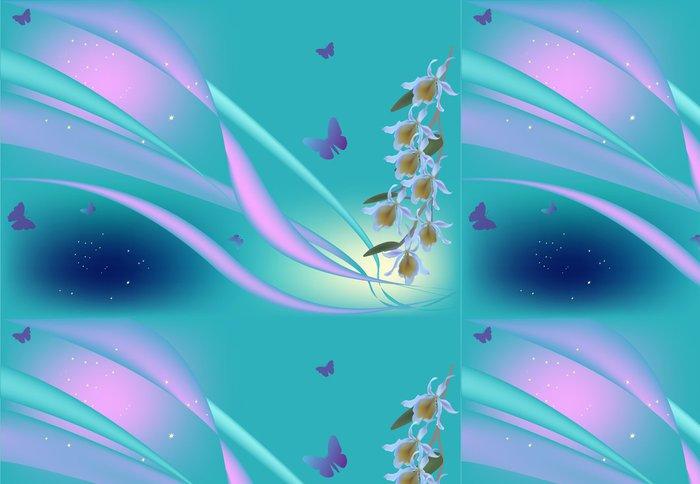 Tapeta Pixerstick Fialova orchideje a motýli na modré - Květiny