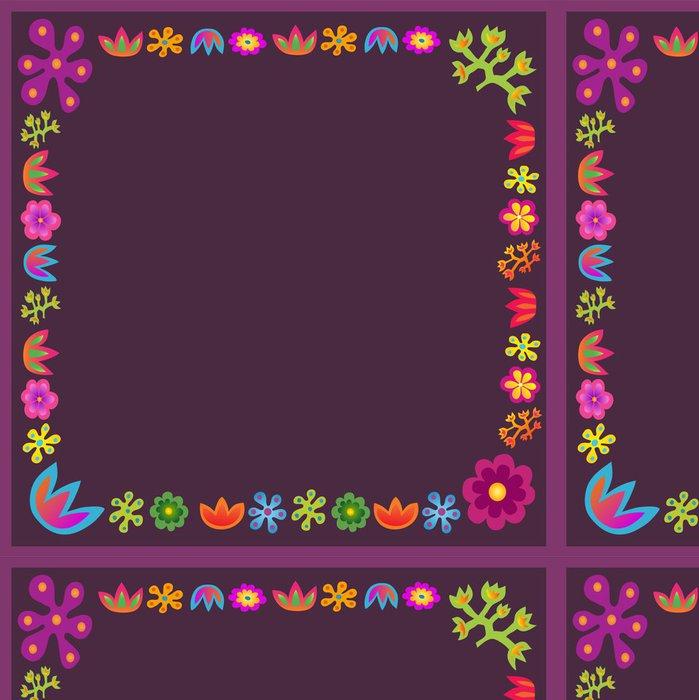 Tapeta Pixerstick Fialové květiny vektor rám náměstí - Pozadí