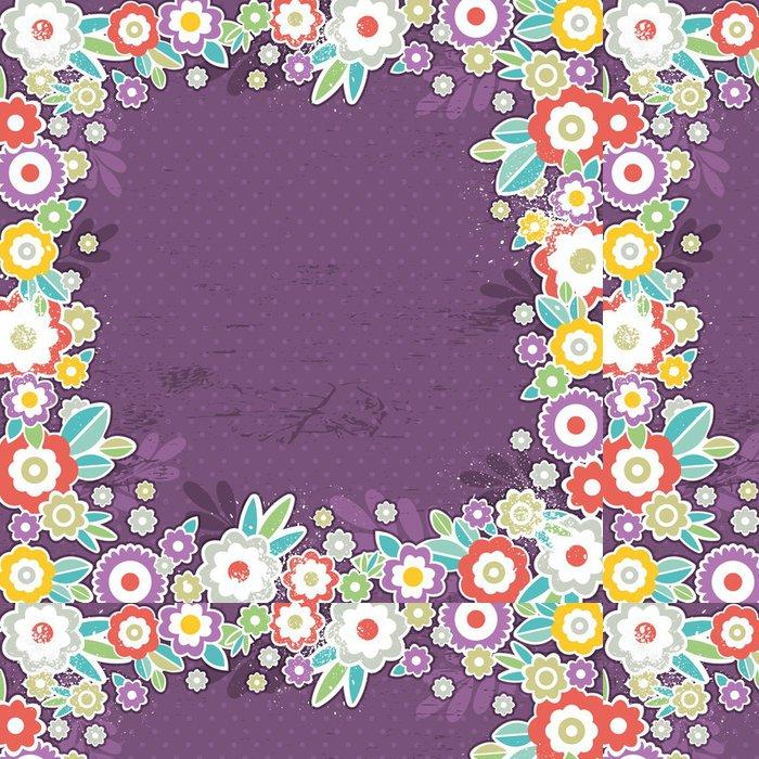 Tapeta Pixerstick Fialové pozadí barevných květin, vektor - Roční období
