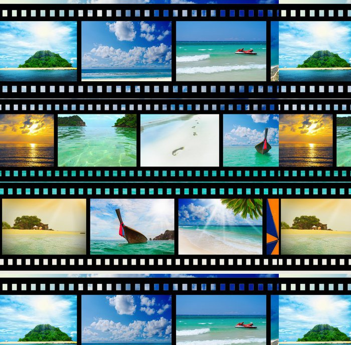 Vinylová Tapeta Filmový pás s krásnými prázdninových fotografií, - Prázdniny