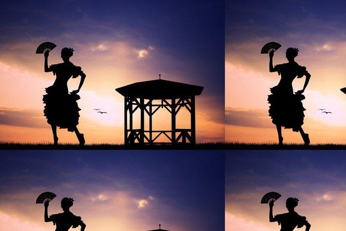 Tapeta Pixerstick Flamenco při západu slunce - Žena