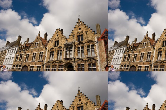 Tapeta Pixerstick Fleminsh stylu domu ulici v Bruggách Belgii - Evropa
