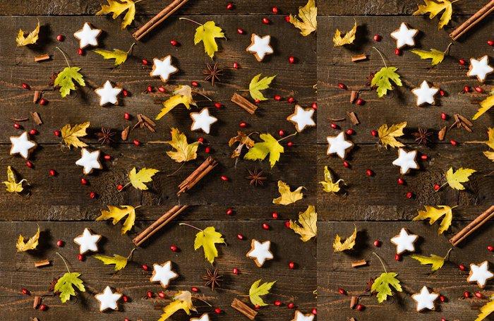 Tapeta Pixerstick Foglie e biscotti natalizi, textura - Témata