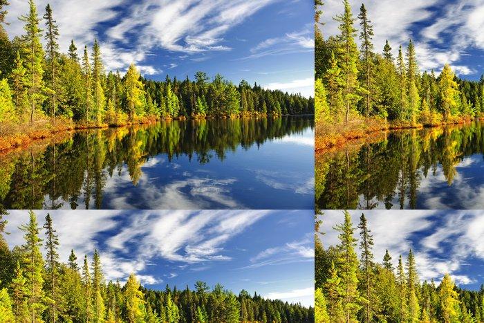 Tapeta Pixerstick Forest odráží v jezeře - Roční období