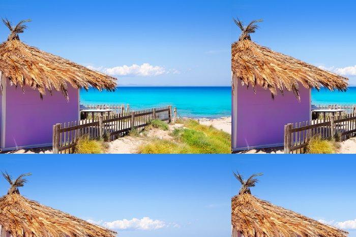 Tapeta Pixerstick Formentera tropické fialové chata na pláži tyrkysové - Prázdniny