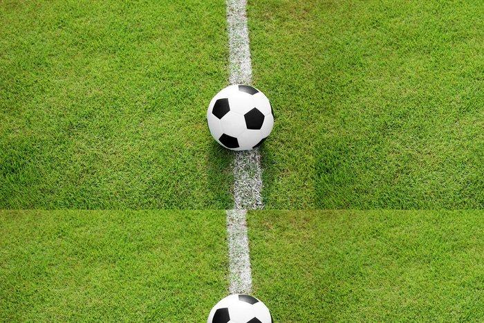 Tapeta Pixerstick Fotbalový míč na bílou čáru - Outdoorové sporty