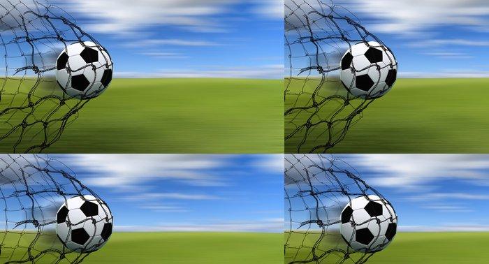 Tapeta Pixerstick Fotbalový míč v síti - Týmové sporty