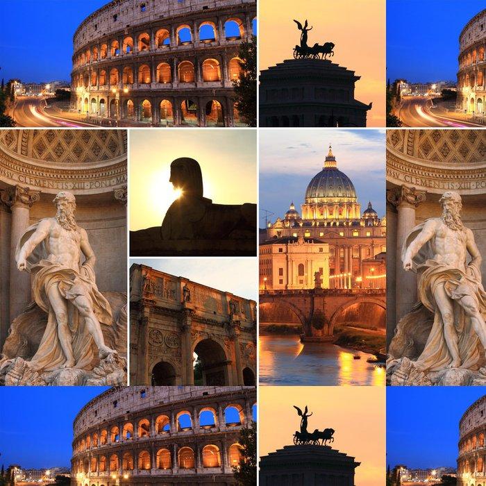 Tapeta Pixerstick Foto koláž z Říma za soumraku, Itálie - Evropská města