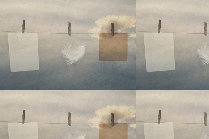 Tapeta Pixerstick Foto rámeček ze starého papíru na laně s kolíčky - Struktury