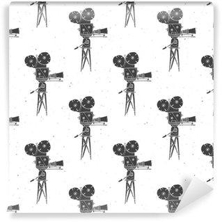 Vinylová Tapeta Fotoaparát ročník bezešvé vzor, handdrawn náčrtek, retro film a film průmyslu, vektorové ilustrace