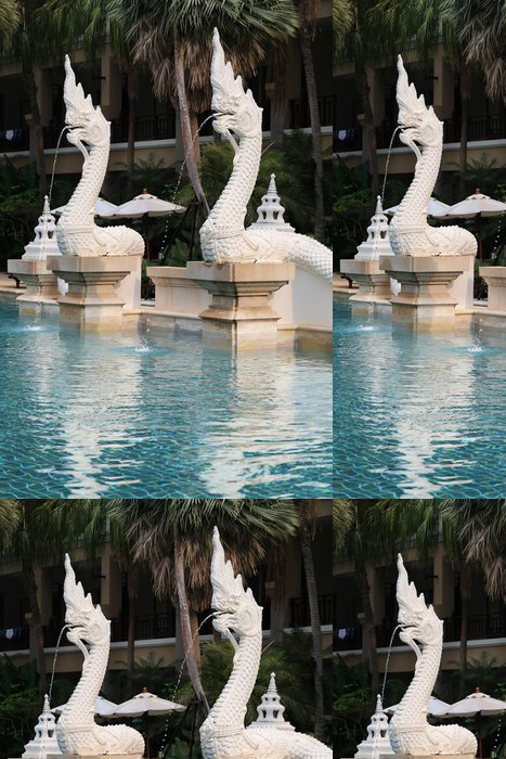 Tapeta Pixerstick Fragment bazén s draky - Voda
