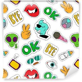 Vinylová Tapeta Fun ručně kreslenými symbol náplast bezešvé vzor