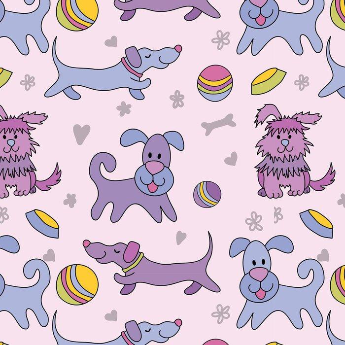 Vinylová Tapeta Funny dogs bezešvé vzor - Savci