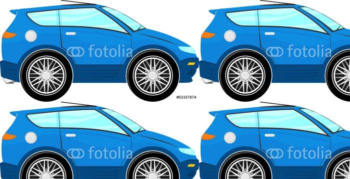 Tapeta Pixerstick Funny modré auto - Na cestě