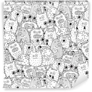 Vinylová Tapeta Funny monstra bezproblémové vzor pro omalovánky. černé a bílé pozadí. vektorové ilustrace