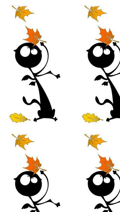 Tapeta Pixerstick Funny podzim kočka - Roční období