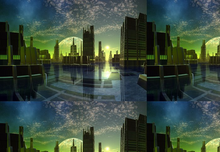Vinylová Tapeta Futuristický Alien City - počítačové kresby - Styly