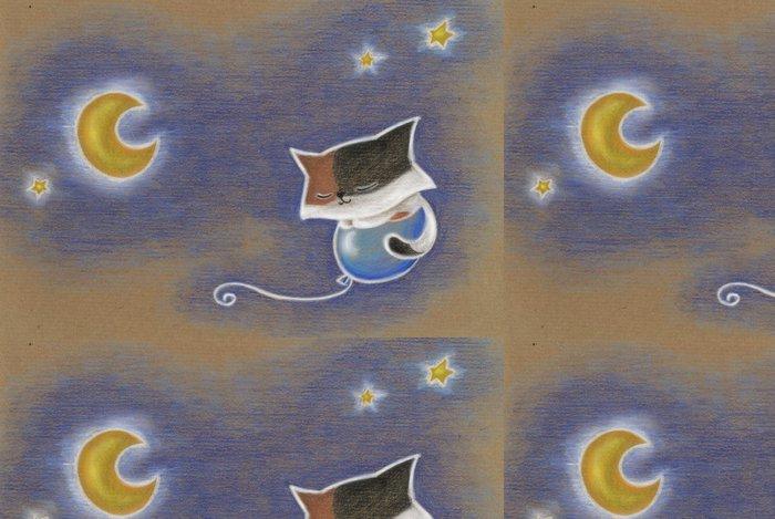 Tapeta Pixerstick Gatto che vola su un palloncino nel cielo di notte - Savci