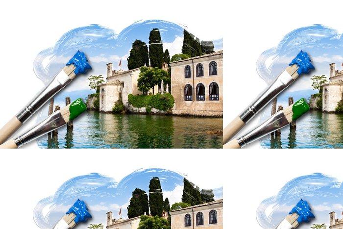 Tapeta Pixerstick Gemälde eines historischen Gebäudes am Gardasee - Prázdniny