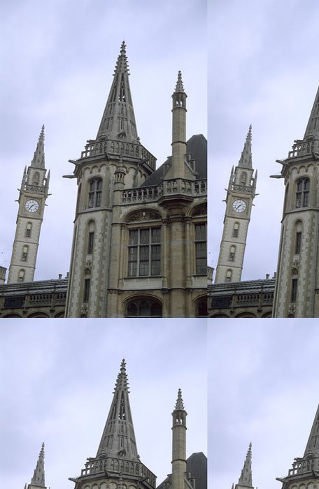 Tapeta Pixerstick Gent věž s hodinami - Evropa