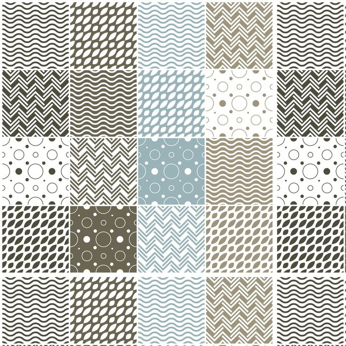 Tapeta Pixerstick Geometrické vzory bezešvé: puntíky, vlny šípové - Pozadí