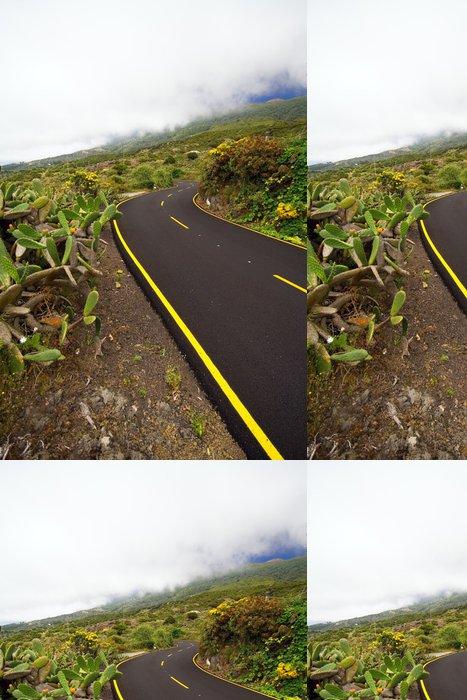 Tapeta Pixerstick Gewundene Bergstrasse Unter den Wolken, La Palma - Evropa