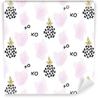 Vinylová Tapeta Glitter skandinávský xoxo ananas ornament. Vektorové zlaté kolekce bezproblémové vzorek. Moderní Shimmer detaily a růžové tahy stylový textury.